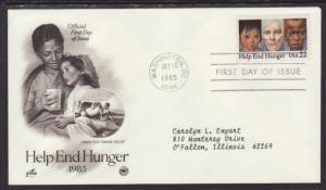 US Help End Hunger 1985 PCS Typed FDC BIN
