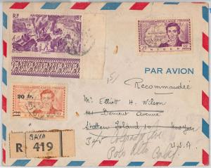 AOF  NIGER SENEGAL  -  POSTAL HISTORY: REGISTERED COVER from Saya to USA 1949