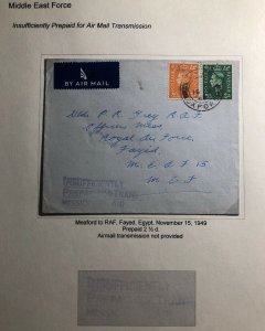 1949 Oxford England Airmail Cover To Royal Air Force In Fayed Egypt