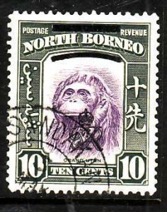 North Borneo-Sc#229-used 10c olive green & violet-1947-