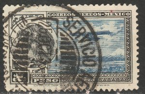 MEXICO C17, $1P Early Air Mail Plane and coat of arms USED. VF. (1361)