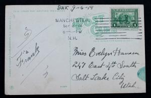US Stamp Sc# 397 on Postcard from W. Manchester N.H. 1919