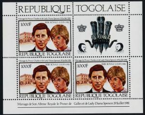 Togo 1143a sheet MNH Royalty, Charles & Diana Wedding, Royal Baby o/p
