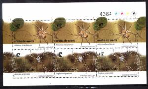URUGUAY 2009 FAUNA INSECTS SPIDERS FULL MINISHEET YV 2403-4 MNH
