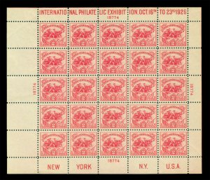 US 1926 Int. Philatelic Exhibition 2c carmine BLOCK S/S Scott# 630 mint MNH**