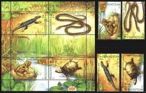 Moldova. 2005. 524-27, bl 35. Frogs, lizards, fauna. MNH.