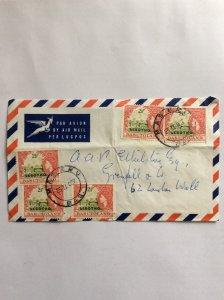 Basutoland overprinted Lesotho 1967 x5 2.5c Air Mail cover. Postmark Maseru.