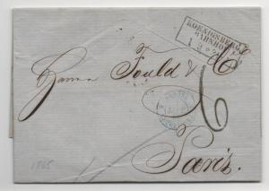 Stampless Cover Germany to Paris 1865 Koenigsberg Document Postal History