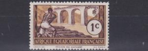 FRENCH EQUATORIAL AFRICA 1937 - 42  1C  CHOCOLATE & YELLOW  MH