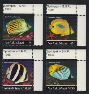 Norfolk Butterflyfishes 4v Corners SG#591-594 SC#577-580