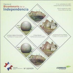 COSTA RICA BICENTENNIAL INDEPENDENCE,NATL THEATER,CRESTONES,SPHERES, MNH 2019