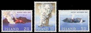Iceland 1965 Volcanos Scott #372-374 Mint Never Hinged