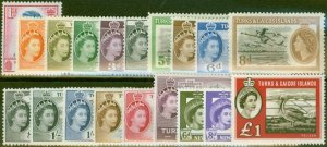 Turks & Caicos Is 1955-60 Extended set of 19 SG235-253 V.F Very Lightly Mtd Mint