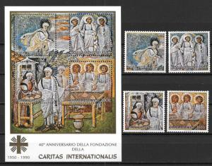 Vatican City 853-57 40th Caritas International set and s.s. MNH