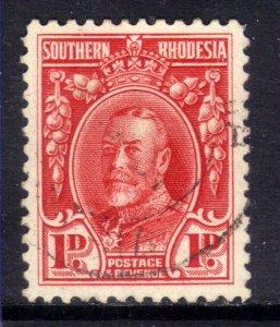 Southern Rhodesia 1935 KGV 1d Scarlet used SG 16 Perfs 12 ( E335 )