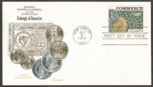 US FDC.COINAGE OF AMERICA 1975 COMMERCE 10C STAMP.FIRST DAY OF ISSUE,NEW YORK NY