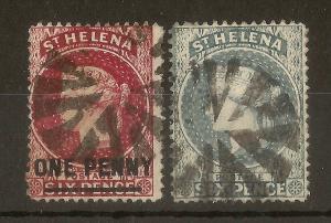 St Helena 1864-94 1d on 6d & 6d Used WMK CC