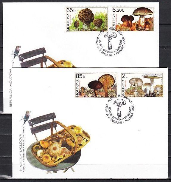 Moldova, Scott cat. 552-555. Mushrooms issue on 2 First day covers.