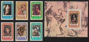 Turks and Caicos 400th Birth Anniversary of Rubens Christmas 6v+MS 1977 MNH