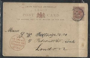 LAGOS COVER (P1211B) 1889  QV 1 1/2D PSC LAGOS TO UK RED LIVERPOOL CDS CANCEL