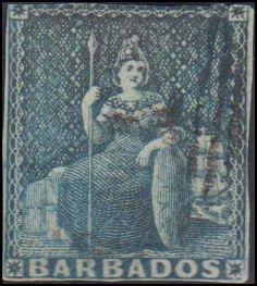 Barbados #6, Incomplete Set, 1855-1858, Used