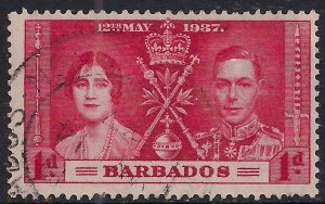 Barbados 1937 KGV1 1d Red Coronation SG 245 ( 1146 )