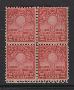 United States US Stamps 1927 Edison's First Lamp Scott 654 Block 4 Stamps OG/MNH