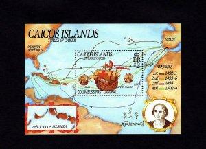 CAICOS IS - 1984 - VOYAGES OF COLUMBUS - SHIP - MAP - LANDFALL - MNH S/SHEET!