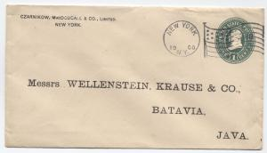 1900 1ct green envelope NY to Java with flag cancel [y2768]
