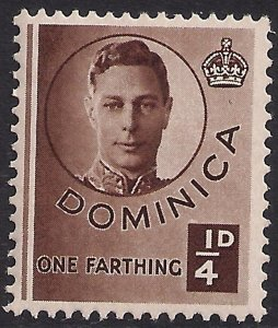 Dominica 1940 – 42 KGV1 1/4d Brown MM  SG 109 ( F1119 )
