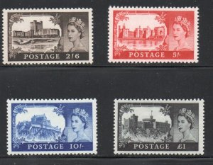 Great Britain Sc 525-28 1967 Castles High Values stamp set mint NH