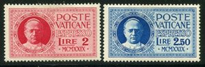 VATICAN Sc#E1-E2 1929 Pope Pius XI EXPRESS Complete Mint OG Hinged