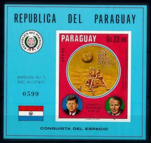[66077] Paraguay 1970 Space Travel Weltraum Kennedy Imperf. Sheet MNH