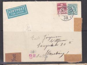 DENMARK, 1941 Airmail Censored cover, Copenhagen to Hamburg, Germany.