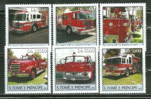 St. Thomas & Prince Islands MNH 1472A-F Fire Engines 2003 SCV 9.00
