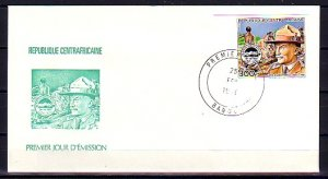 Central Africa, Scott cat. 646. Scout B. Powell IMPERF issue. First day cover. ^