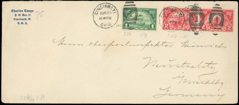 1924 #10 Envelope, Foreign Use, Cincinnati to German Postal