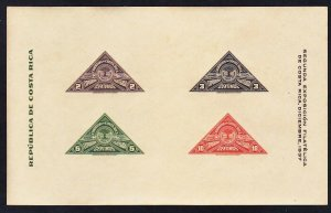 Costa Rica 183 MNH 1937 Costa Rican Philatelic Society IMPERF Souvenir Sheet