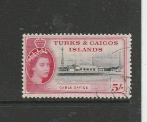 Turks & caicos islands 1957 5/- VFU SG 249