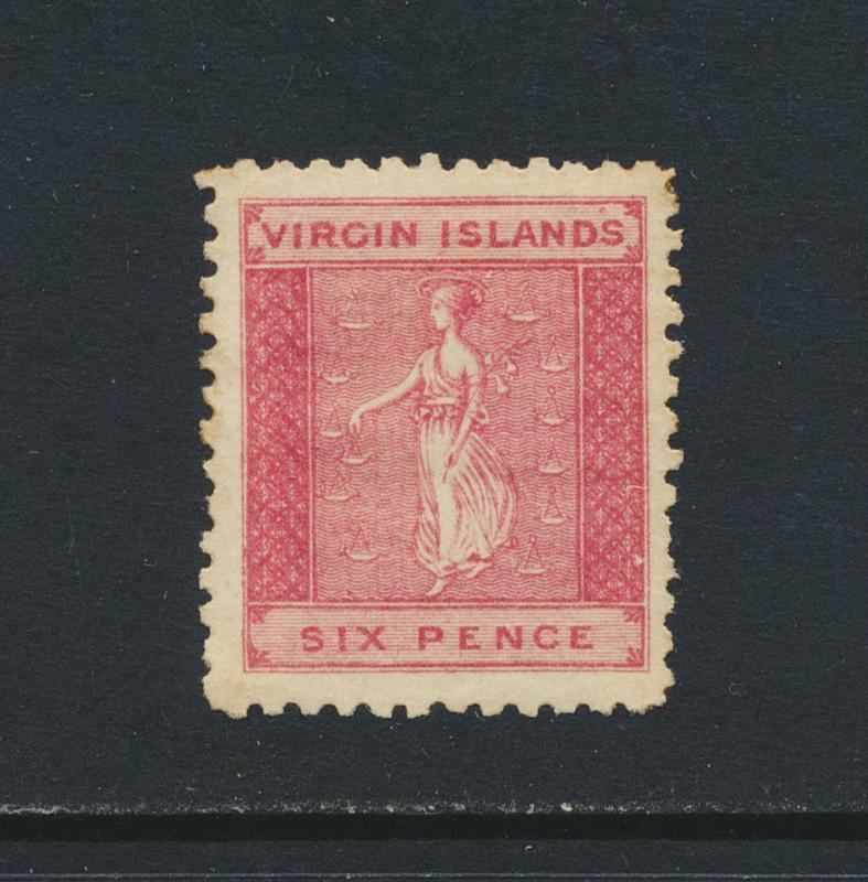 BRITISH VIRGIN IS 1866, 3d NO WMK P12 VF MINT SG#3 (SEE BELOW)