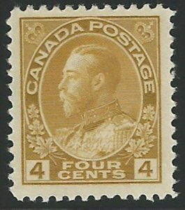Canada, Scott #110, 4c olive bister, Admiral, mint, lightly hinged, V.F.-X.F.