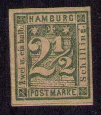 Imperf German States MLH Sc12 Hamburg (1864) 2-1/2s Green Good Margins Xtra Fine