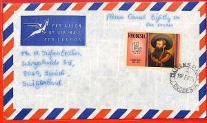 aa2363 - Rhodesia  - POSTAL HISTORY -  AIRMAIL COVER to SWITZERLAND  1975 Art