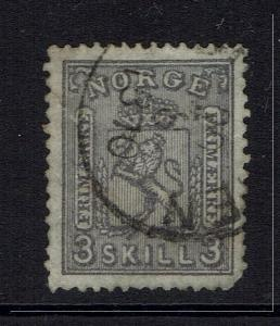 Norway SC# 13, Used, Clipped Perf, Small Hinge Remnant -  Lot 030517