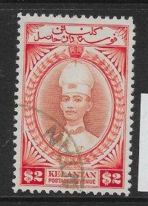 MALAYA KELANTAN SG53 1940 $2 RED-BROWN & SCARLET USED