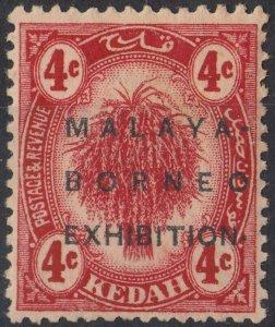 Kedah 1922 KGV 4c Malaya Borneo Exhibition Raised Stop MH