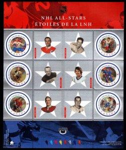 Canada Scott 1885 MNH**  National Hockey League stars souvenir sheet.