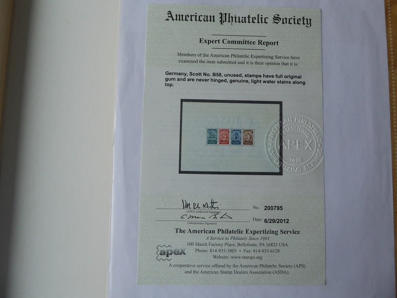 Germany Deutsches Reich 1933 Souvenir Sheet 1923-1933 Sc B58 APS certificate