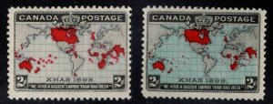 Canada Scott 85-86, SG166-167, Christmas 1898 Mercator Map set MNH** CV$200