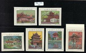 North Viet Nam - 1968 - Sc 521 - 526  - Architecture - Imperforation - MNH - #1